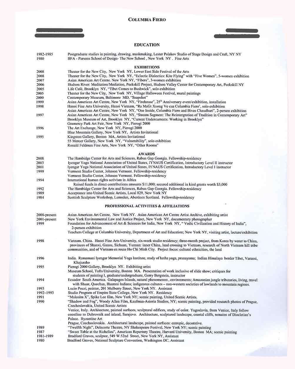 Columbia Fiero's Resume, [2008]